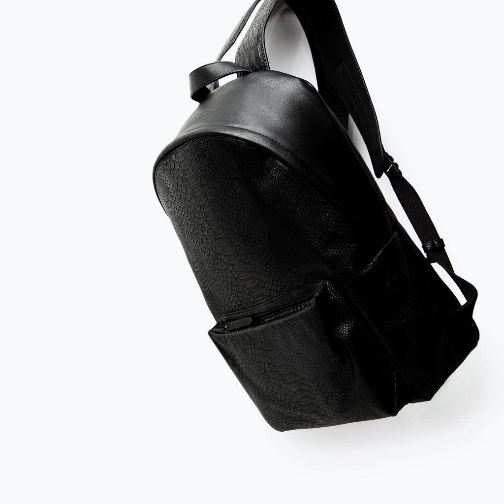 87bd707e33 EMBOSSED RUCKSACK from Zara | bags | Bags, Messenger bag men, Black ...