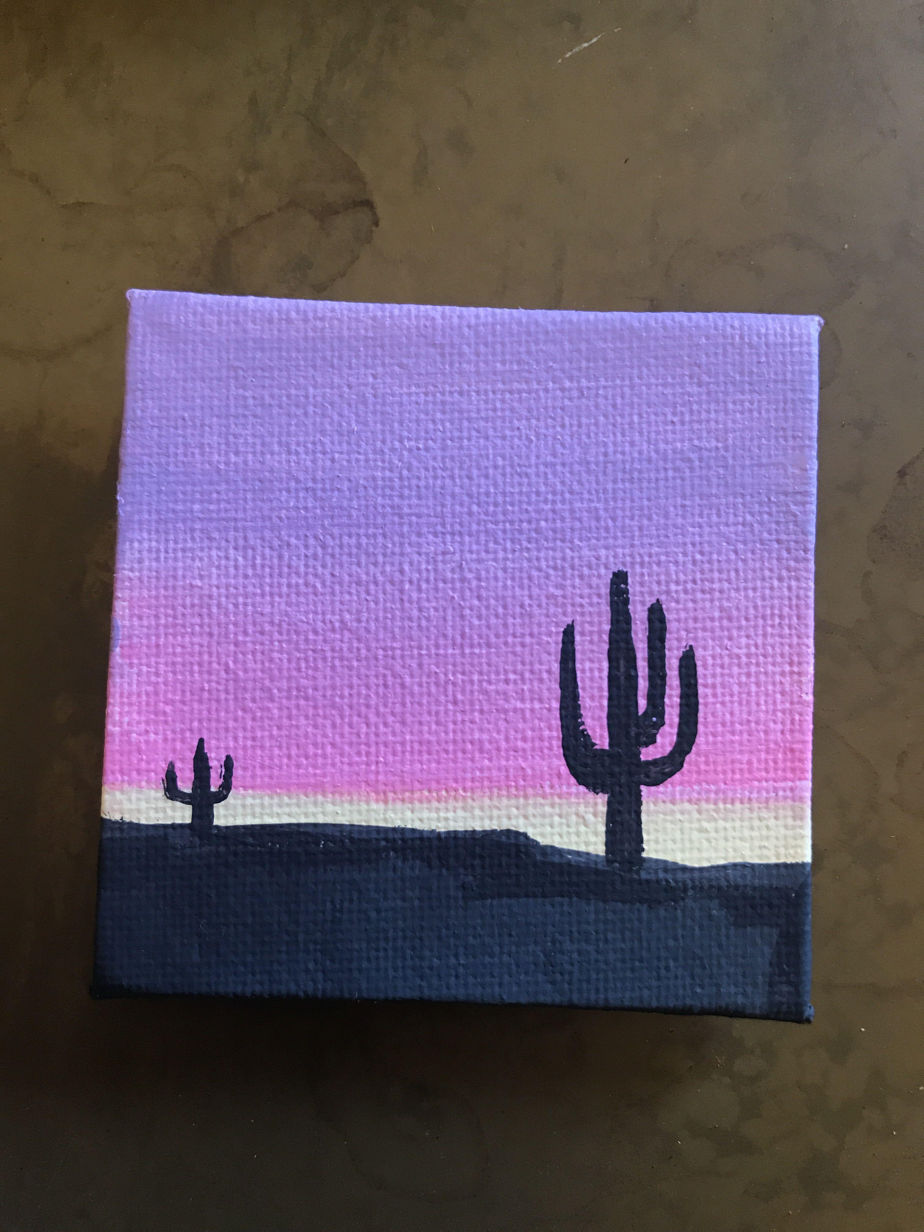 Mini Canvas Cactus Sunset Painting Cactus Canvas Mini Painting Sunset Cactus Canv In 2020 Mini Canvas Art Canvas Art Painting Simple Canvas Paintings