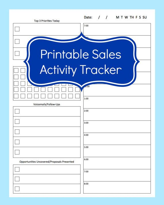 A daily planner sheet for anyone who is in sales and does cold ...
