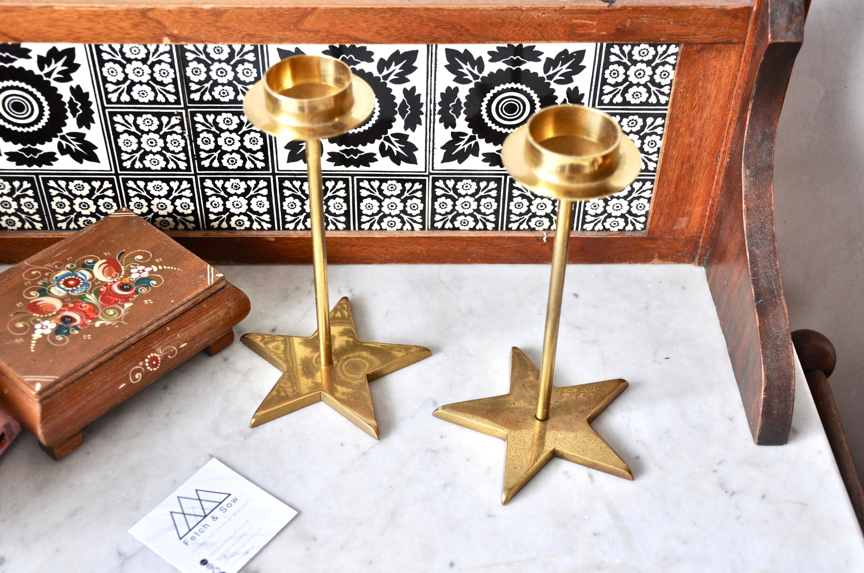 Pair of vintage mid century modern brass candle holders with star