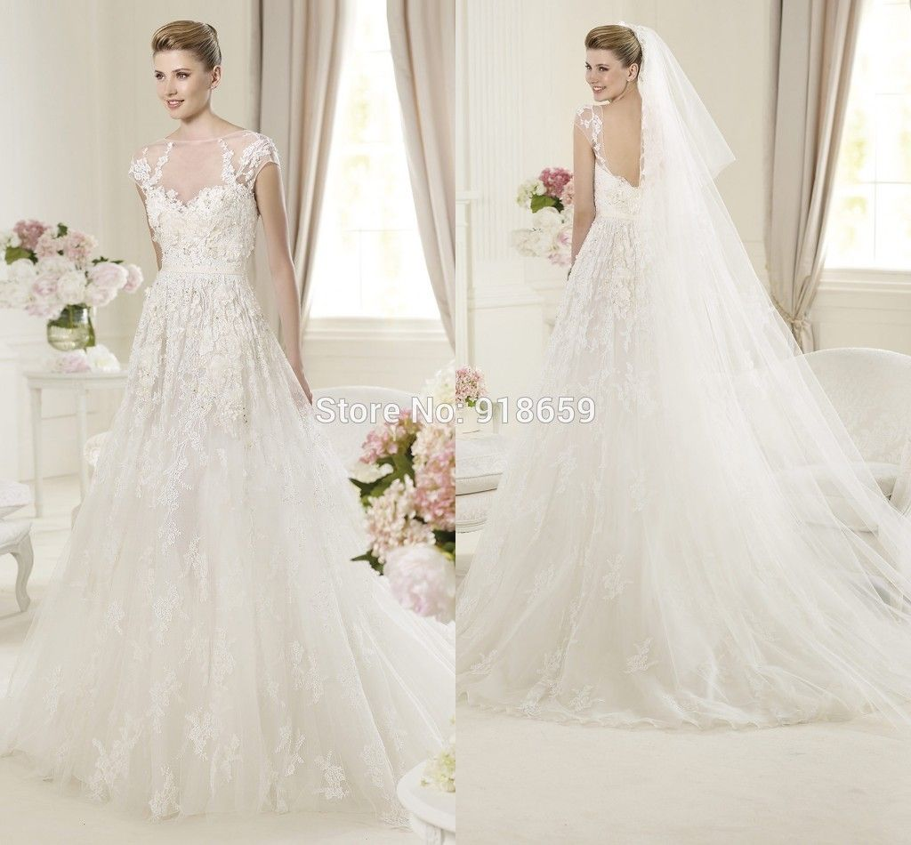 Find More Wedding Dresses Information about See Through Neckline Capped Sleeves Lace Wedding Dress Elie Saab Wedding Dresses 2014,High Quality Wedding Dresses from Rosemary Bridal Dress on Aliexpress.com