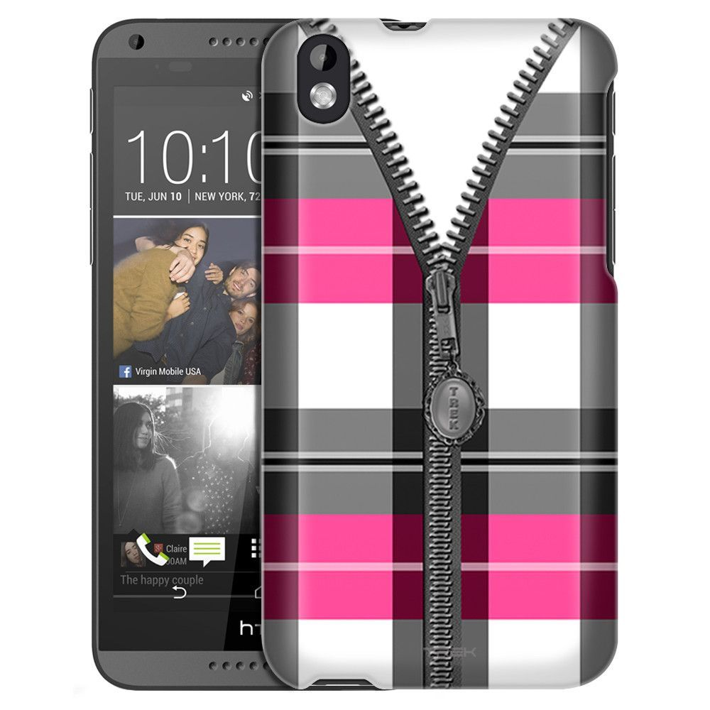 HTC Desire 816 Pink Plaid Zipper Slim Case