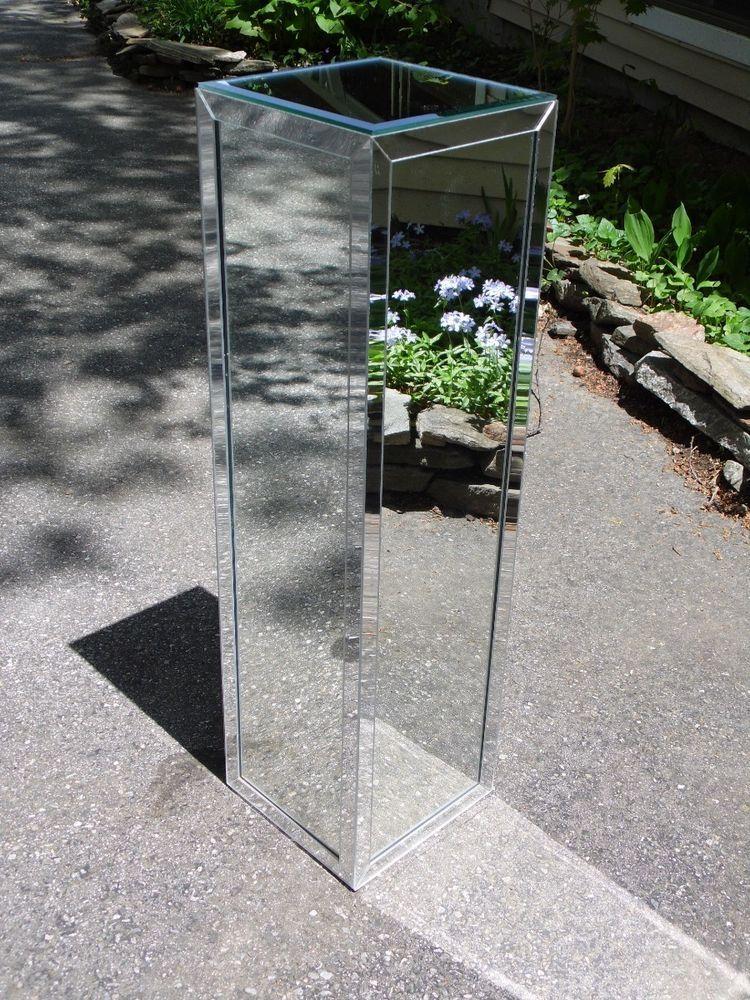 Vintage Mirrored Pedestal Plant Stand Art Display Column Table Hollywood Regency