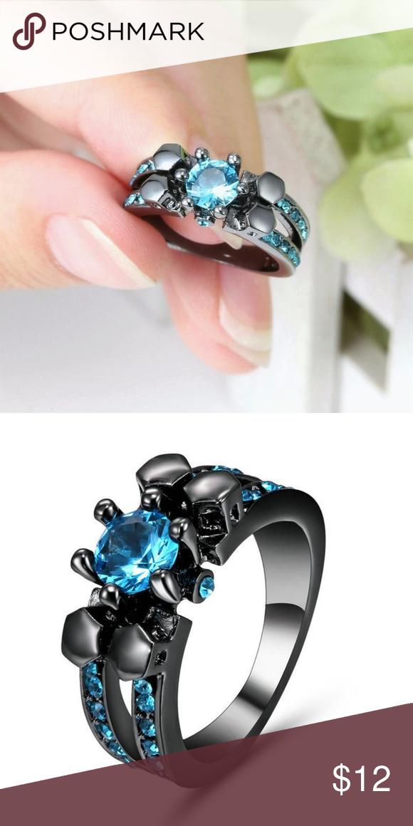 Blue CZ Solitaire Black Gold Ring Size 6.75 Boutique
