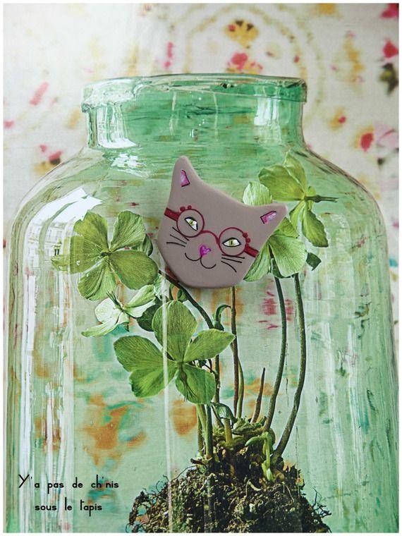 Broche en argile papier - Diabolo le chat