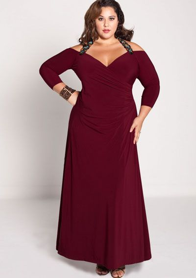e370ba7f0428 Festkjoler Store Størrelser Gabrielle kjole i Bourgogne