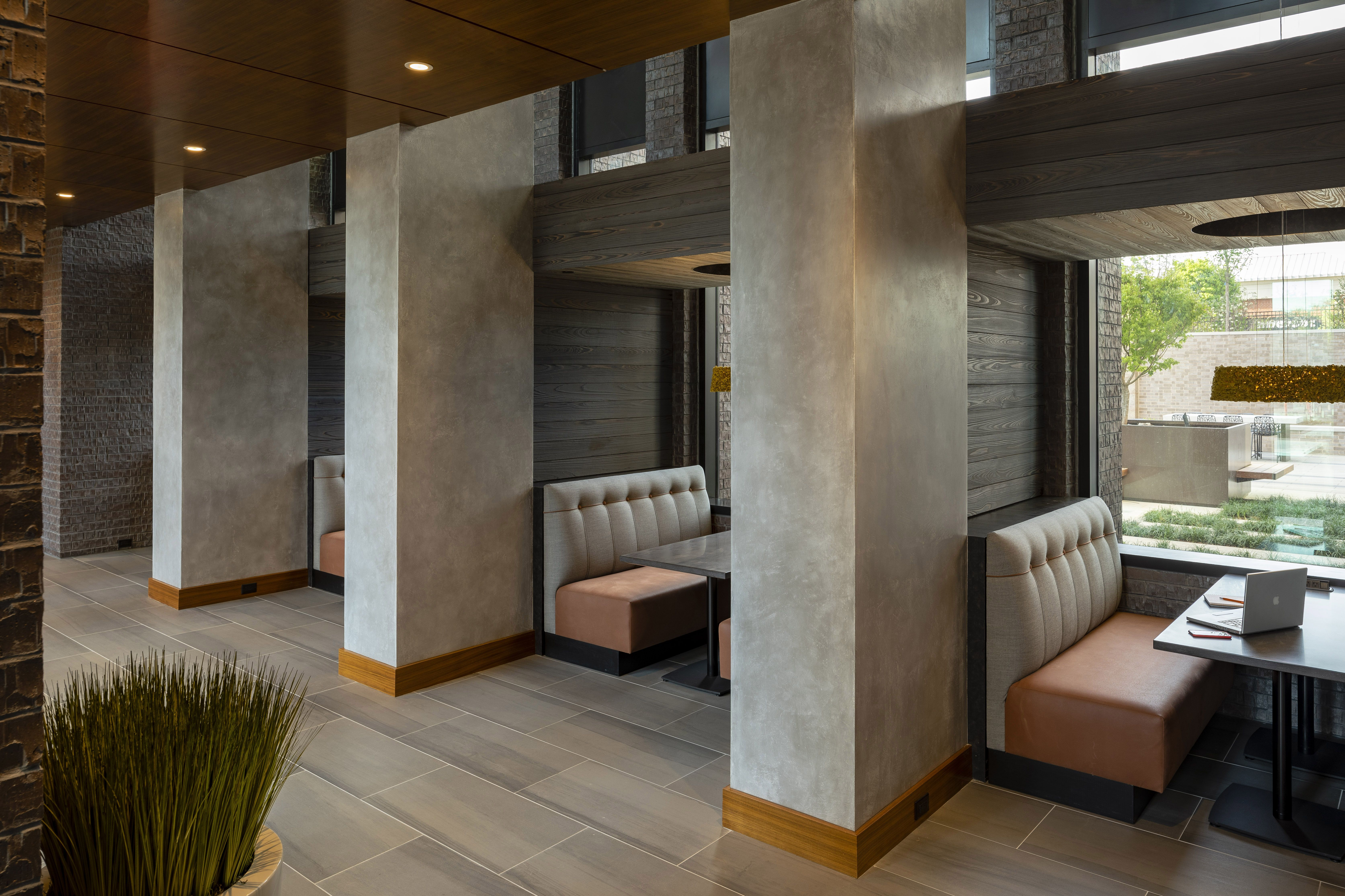 Co Working Or Private Booths Enclosed By Custom Light Fixtures And