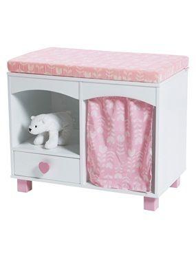 Poétique et pratique, ce meuble fille dispose de nombreux rangements dont un compartiment recouvert d'un joli rideau imprimé ! DIMENSIONS : hauteur t
