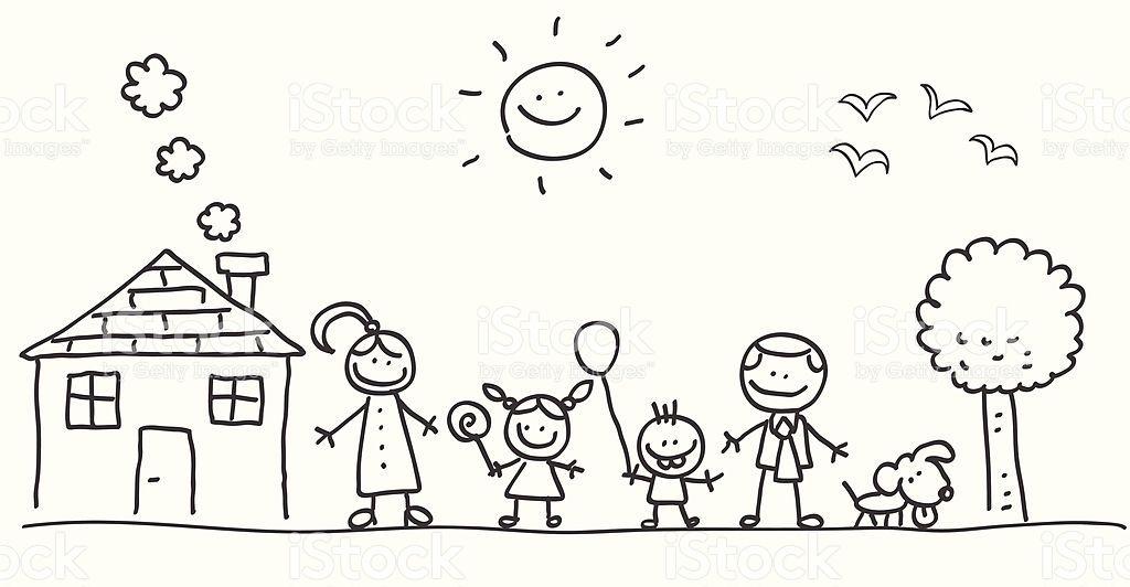 Ilustracao De Familia Feliz Com A Mae Pai E Filhos De Desenho