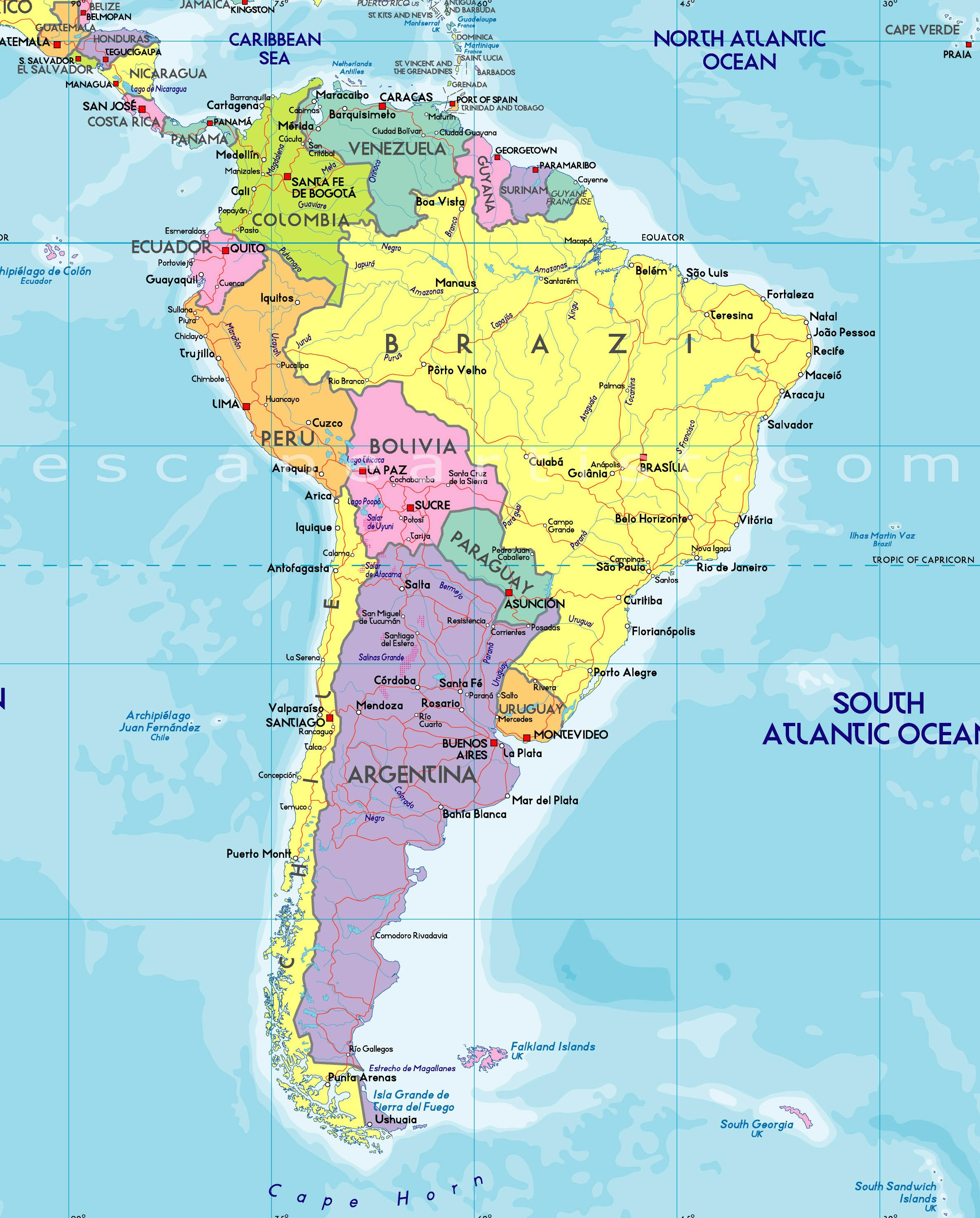 Map Of South America Free Large Images Culture Pinterest - South america road map