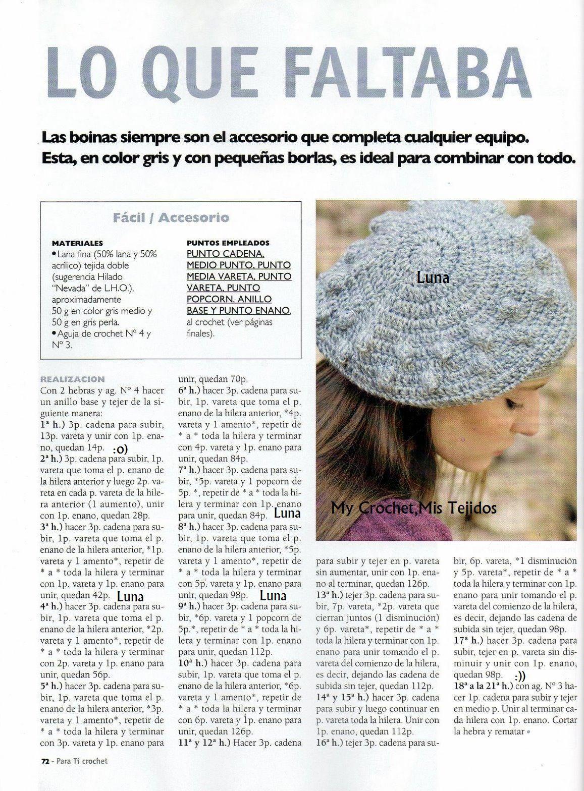 My Crochet , Mis Tejidos by Luna: Boina y su patron a seguir ...