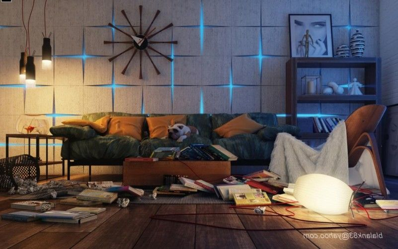 Interior Design With Modern Style Livingroom With Hanging Lamp With