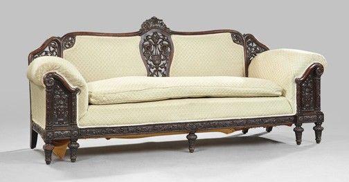 418 Renaissance Revival Mahogany Double Back Sofa Unique