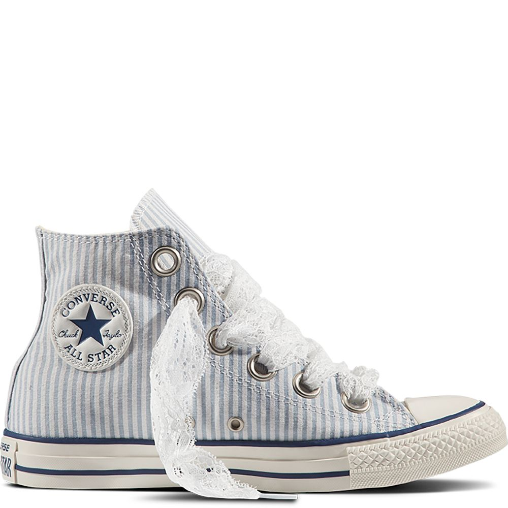 9ae2ef23ea9a Chuck Taylor All Star Big Eyelet Seersucker Blue Slate White Navy blue  slate white navy