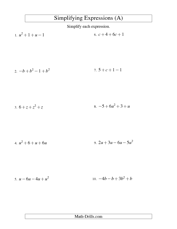 Algebra Worksheet  Simplifying Algebraic Expressions With One