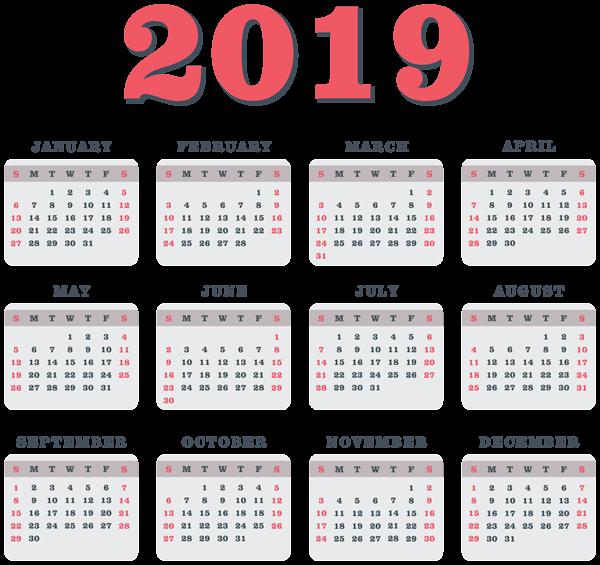 صور تقويم الميلادي ٢٠١٩ صور تقويم عام ٢٠١٩ Coloring Calendar Blue Calendar Clip Art