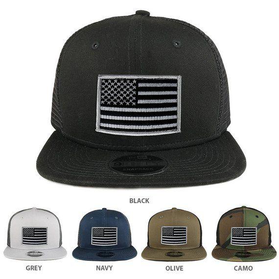cb4a3d93f3bf90 Black Grey American Flag Patch Original Fit Snapback Trucker Cap (NE403 -BLACKGREY)