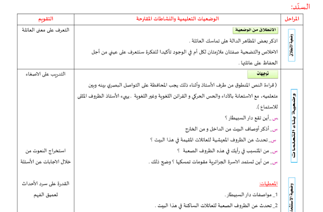 مذكرات السنة ثانية متوسط الجيل الثاني في اللغة العربية المقطع الأول الحياة العائلية Language Generation