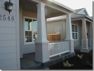 Craftsman tapered porch columns with wooden bases for Tapered porch columns