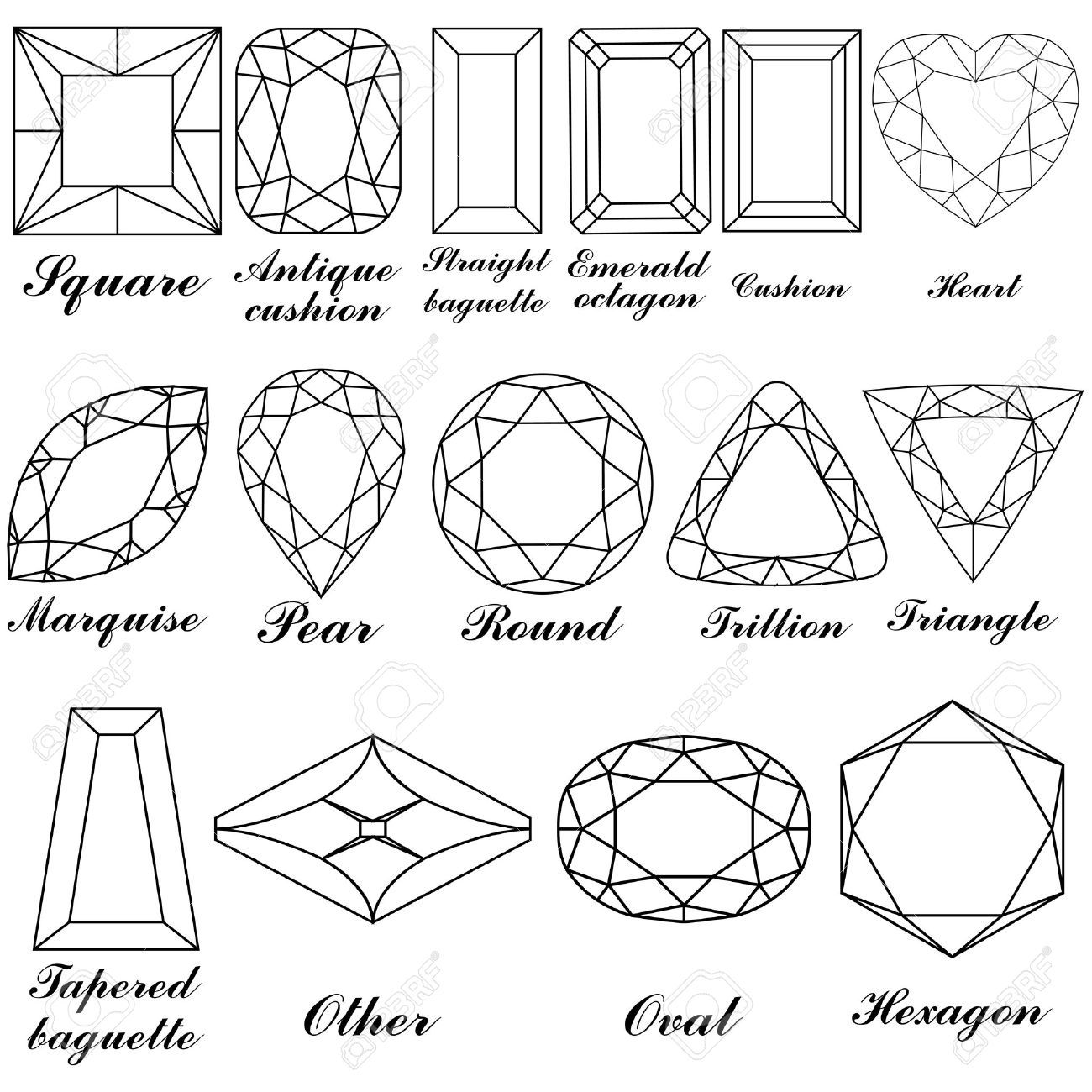 Faceted Jewel Line Drawing
