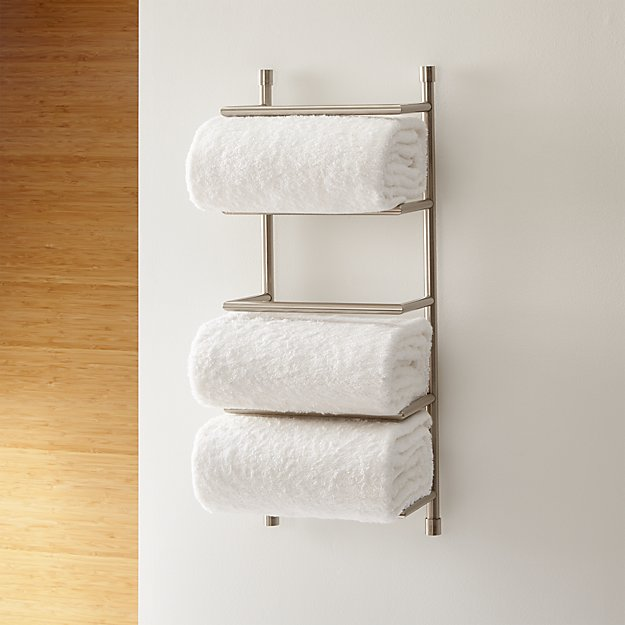 Brushed Steel Wall Mount Towel Rack Reviews Crate And Barrel Towel Rack Bathroom Towel Storage Bath Towel Storage