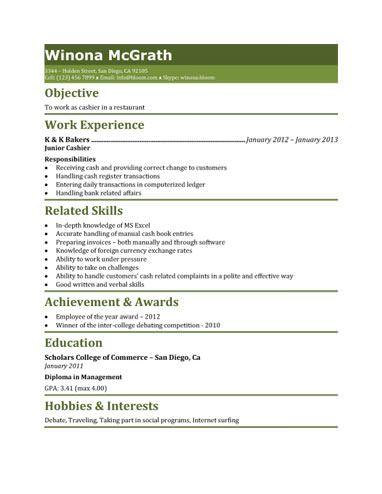 Restaurant Cashier Resume Template Resume Skills Resume Objective Resume Examples