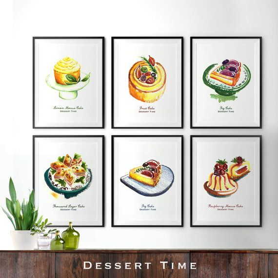 Food Print Cake Watercolor Painting Kitchen Art Kitchen Print