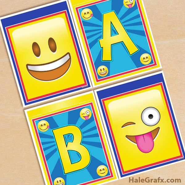 Free Printable Emoji Banner Pack Birthday Banner Free Printable Free Emoji Emoji Party