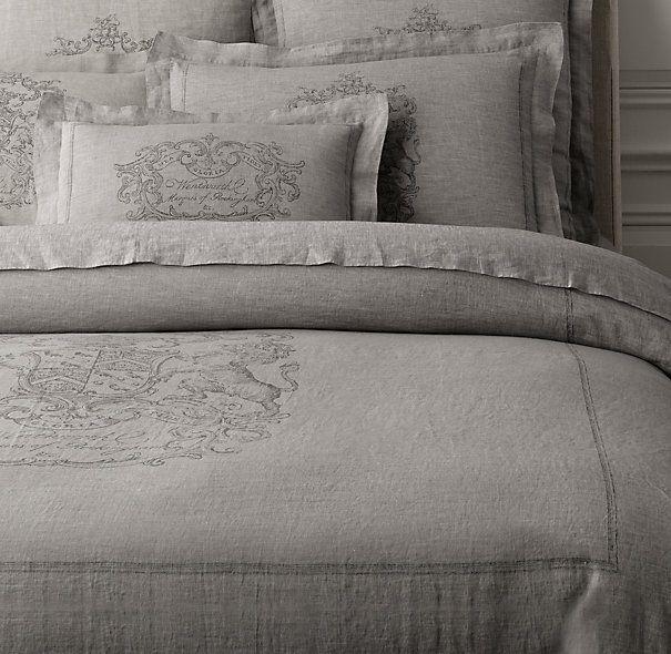 Wentworth Crest Vintage Washed Belgian Linen Duvet Cover