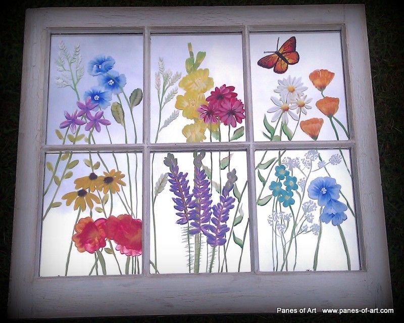 Pin By Michelle Wisherd On Art Projects Painted Window Frames Window Painting Window Art