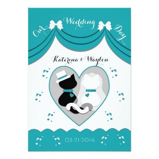 Elegant Teal Cat Wedding Couple Invitations