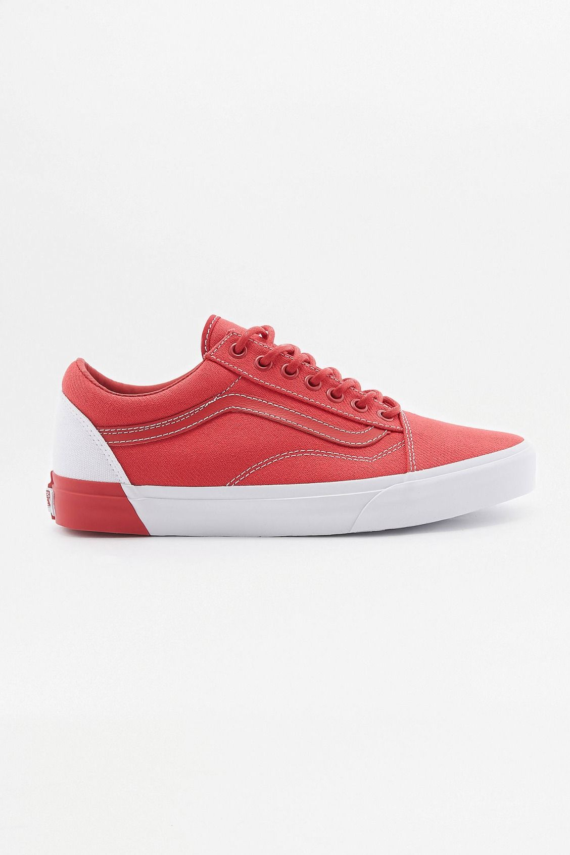 9dcc7e21a6 Vans Old Skool Blocked Red and White Trainers