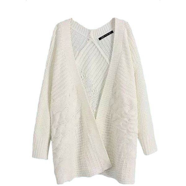 White Pretty Womens Casual Cable Knitted Plain Cardigan Sweater ...