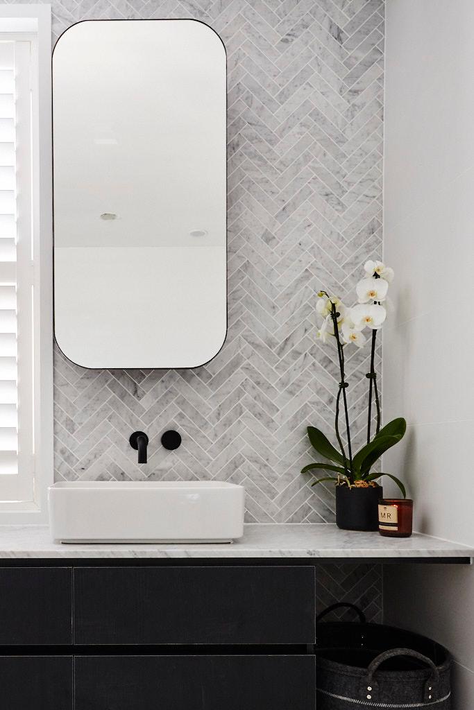 herringbone wall tile behind mirror  google search in