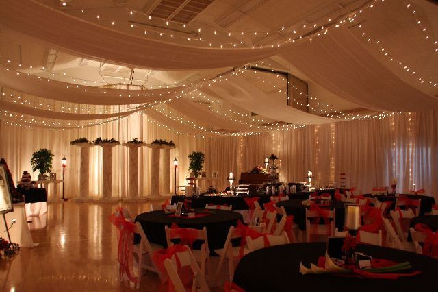 I love this lighted ceiling canopy cleverflowers my dream wall drapes swags ceiling canopies to transform your wedding or junglespirit Image collections