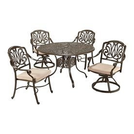 Home Styles Floral Blossom 5-Piece Taupe Aluminum Patio Dining Set 555