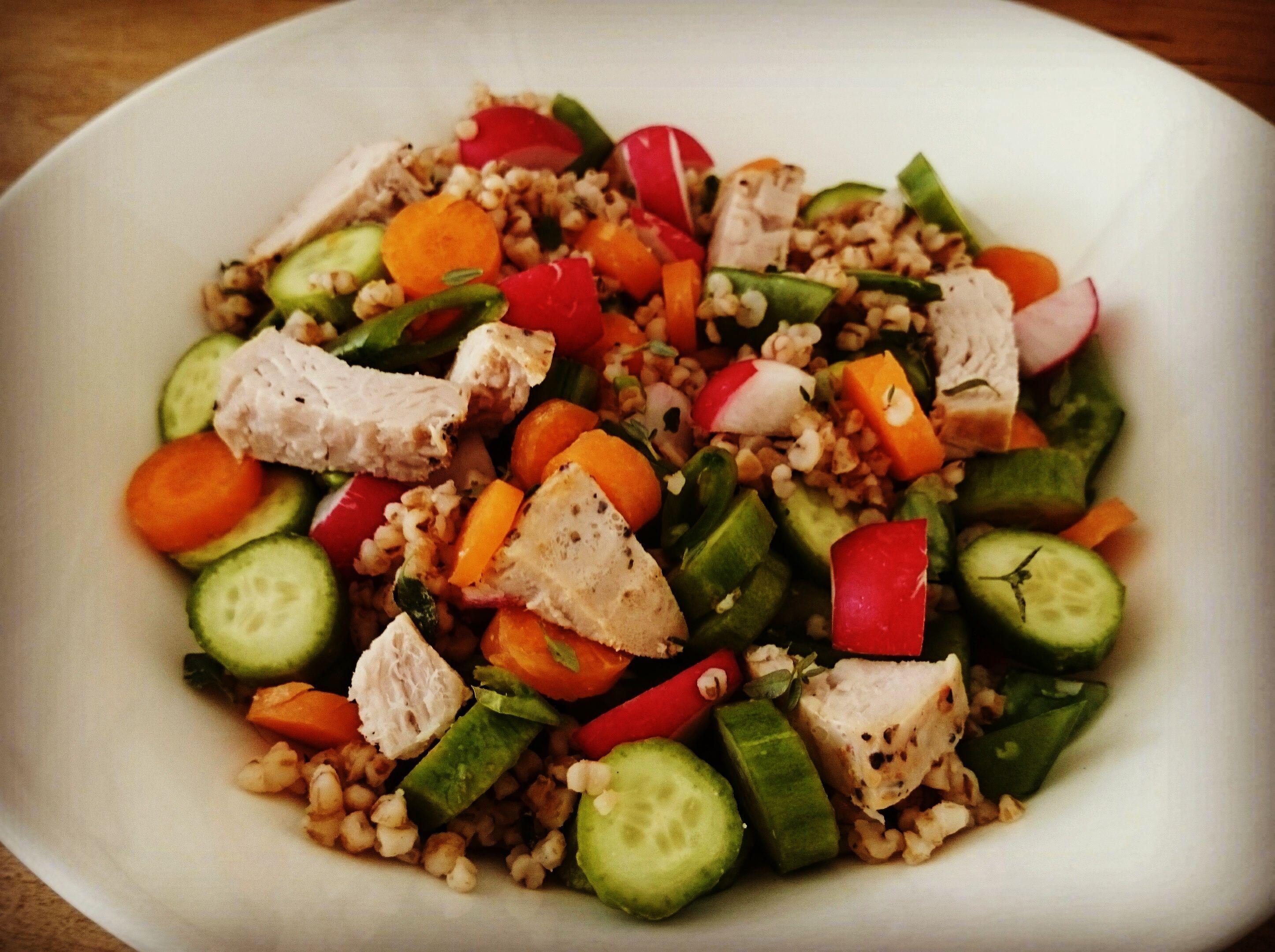 Barley, turkey breast, summer veggies to replace a pasta salad ...