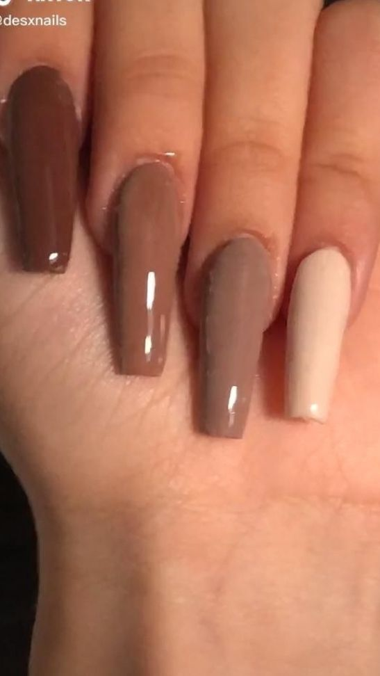 brown coffin ballerina nails