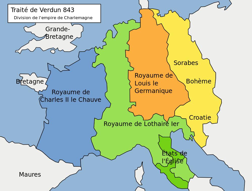 Division de l'Empire de Charlemagne entre ces trois petits fils au traité de verdun en 843