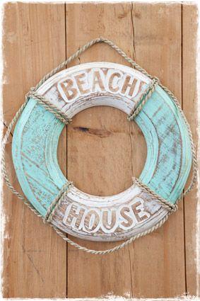Reddingsboei Beach House Mintblauw 40cm Weer Leverbaar Reddingsboei Decoratie House