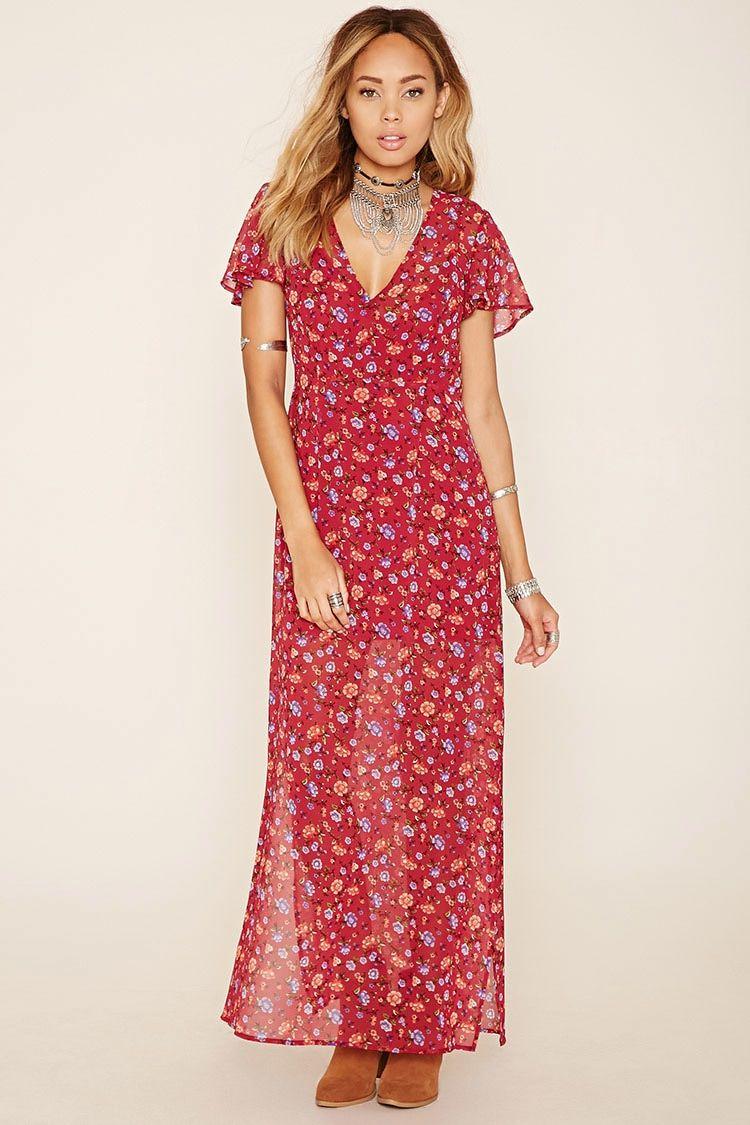 Vestido maxi floral - Mujer - Vestidos - 2000223724 - Forever 21 EU ...