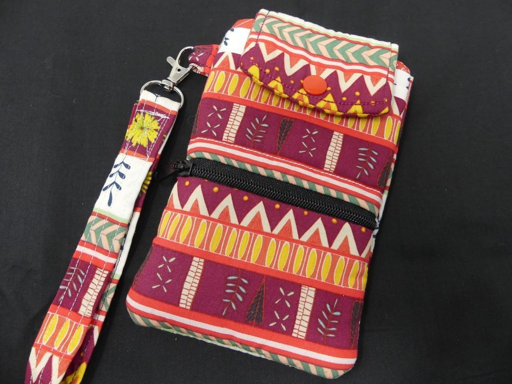 Fabric Smartphone Wallet Case LARGE Size Wristlet Zip Storage Tribal Handmade #handmade