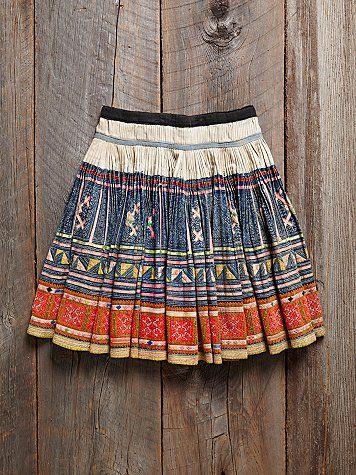 Free People Vintage Embroidered Skirt