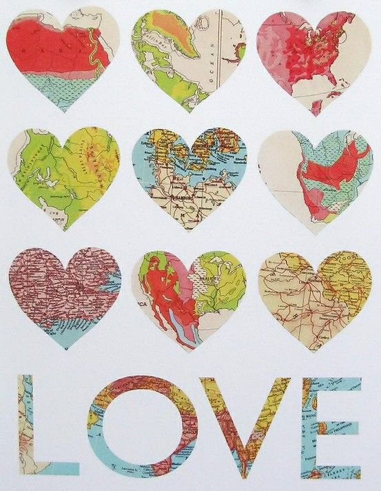 map hearts to represent places we have been together love this ideamight have to be my v day gift to daveall the places weve traveled together