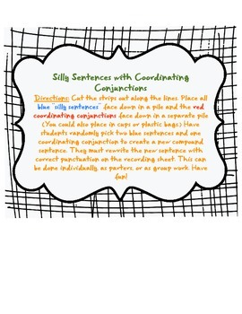 Coordinating Conjunctions Fanboys Silly Sentences