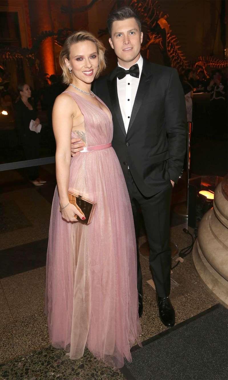 Scarlett Johansson wearing a wedding dress posing for a