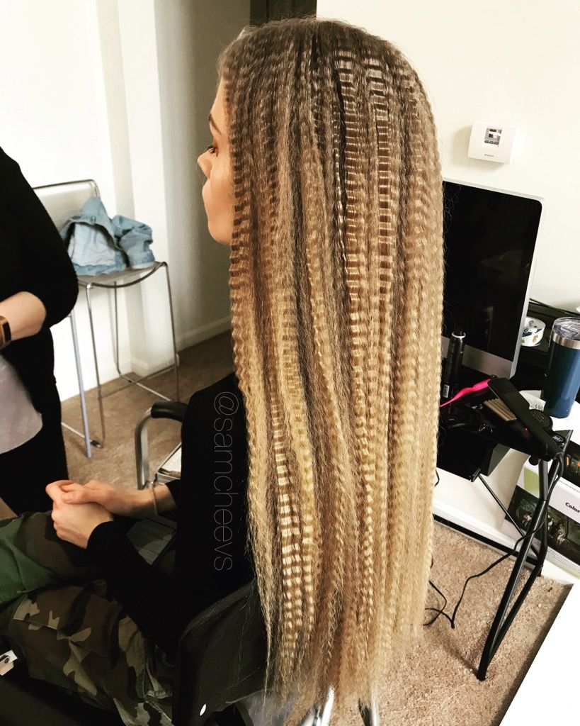 Crimped Hair With Crimper Wavy 80s Style 90s Style Blonde Hair Crimpy 2018 Beauty Trends Editorial Photo Shoot Idea Crimped Hair Hair Crimper Curly Hair Styles