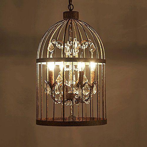 Crystal Bird Cage Chandelier Loft Industrial Wind European Retro