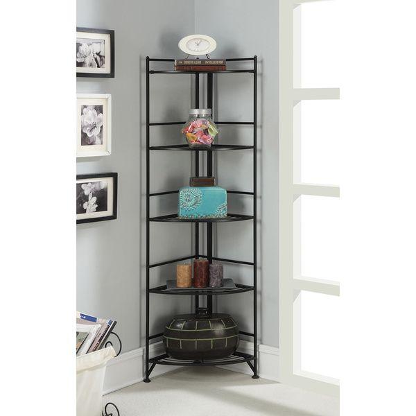 Convenience Cocepts Designs 2 Go Metal 13 75 Inch X 13 75 Inch X 58 Inch 5 Tier Folding Corner Shelf Corner Shelves Shelves Corner Bookshelves