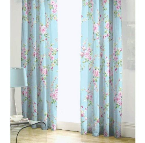 BLUE PINK ROSE FLORAL PENCIL PLEAT LINED COTTON CURTAINS DRAPES 66 X 72 TO